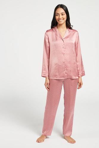All-Over Polka Dot Print Shirt and Pyjama Set