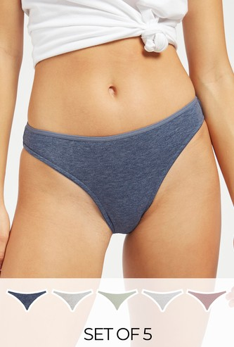 Set of 5 - Solid Hi-Leg Briefs with Elasticated Waistband