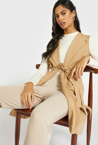 Solid Sleeveless Jacket with Tie-Ups