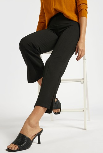 Solid Pants with Elasticated Waistband and Slit Detail