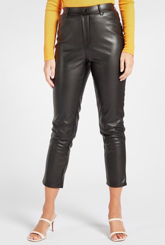 Solid Mid-Rise Treggings with Elasticated Waistband