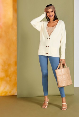 Solid Mid-Rise Jeggings with Pockets and Elasticated Waistband