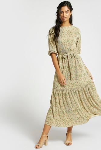 All-Over Floral Print Tiered Midi Dress with 3/4 Sleeves