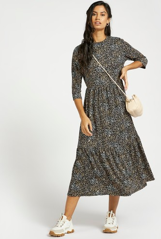 All-Over Print Tiered Midi Dress with 3/4 Sleeves