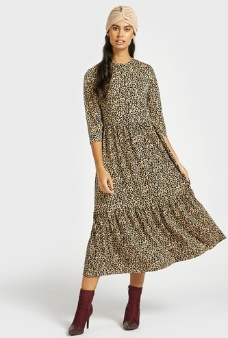 All-Over Animal Print Tiered Midi Dress with 3/4 Sleeves