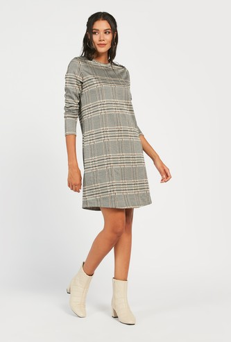 Chequered Jacquard Knee Length Dress with Long Sleeves