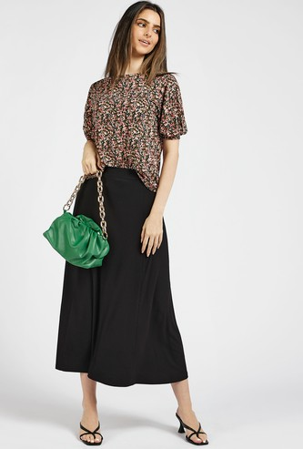 Textured A-line Midi Skirt with Elasticised Waistband