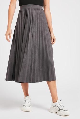 Solid Pleated Midi Skirt