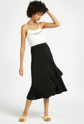 Solid Midi Tiered Skirt with Elasticated Waistband