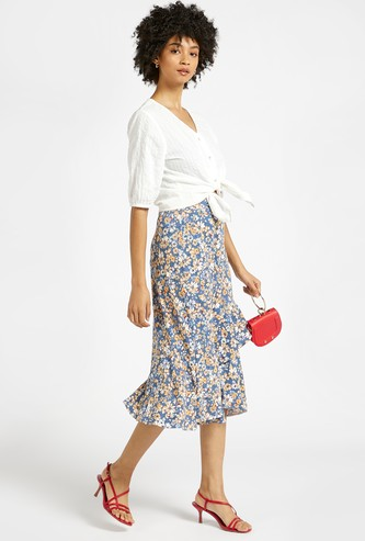 Floral Print Midi Tiered Skirt with Elasticised Waistband