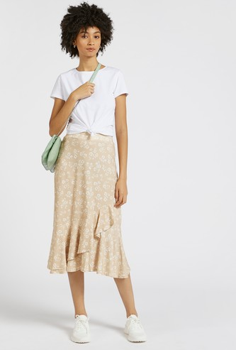 Floral Print Midi A-line Skirt with Ruffles