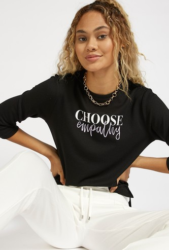 Typographic Print Crew Neck T-shirt with 3/4 Sleeves
