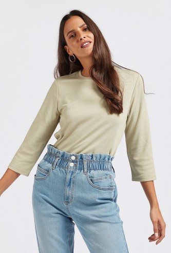 Solid T-shirt with Round Neck and 3/4 Sleeves