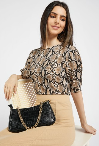 Animal Print Top with Round Neck and Volume Sleeves