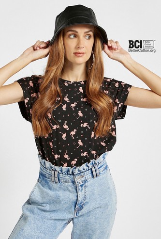 All-Over Flamingo Print T-shirt with Round Neck and Cap Sleeves