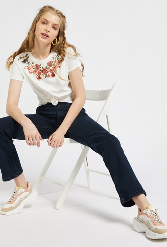 Floral Print T-shirt with Tassel Detail and Cap Sleeves