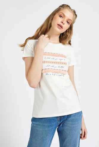 Text Print T-shirt with Round Neck and Tassel Detail