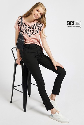 Floral Print T-shirt with Cap Sleeves and Round Neck