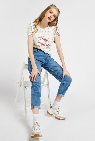 All-Over Print Embroidered T-shirt with Round Neck and Cap Sleeves