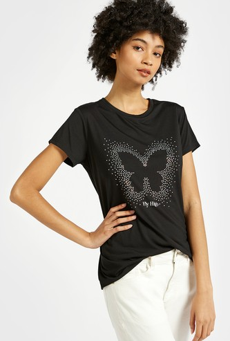 Butterfly Embellished Detail T-shirt with Round Neck and Short Sleeves