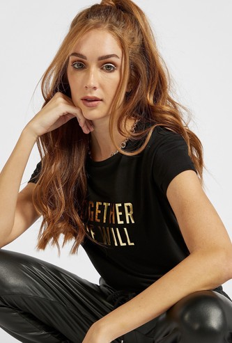 Foil Embossed T-shirt with Round Neck and Cap Sleeves