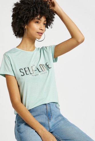 Text Embossed T-shirt with Round Neck and Short Sleeves