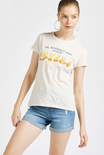 Tweety Print Round Neck T-shirt with Cap Sleeves