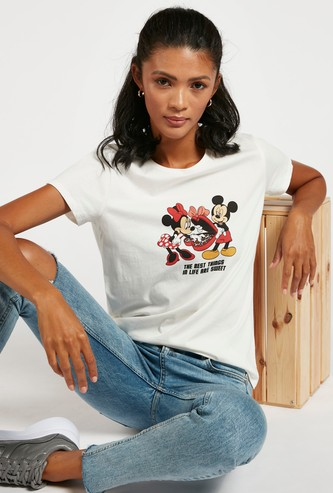 Mickey and Minnie Graphic Print Round Neck T-shirt with  Cap Sleeves