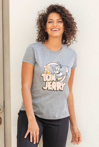 Tom and Jerry Print T-shirt with Round Neck and Short Sleeves