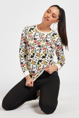 Mickey Mouse & Friends Print Sweatshirt with Round Neck and Long Sleeves