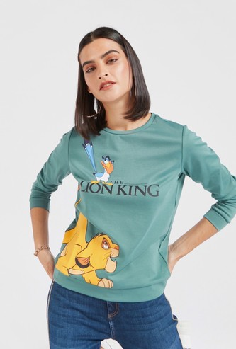 The Lion King Print Sweatshirt with Round Neck and Long Sleeves