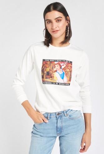 Beauty and the Beast Print Sweatshirt with Long Sleeves