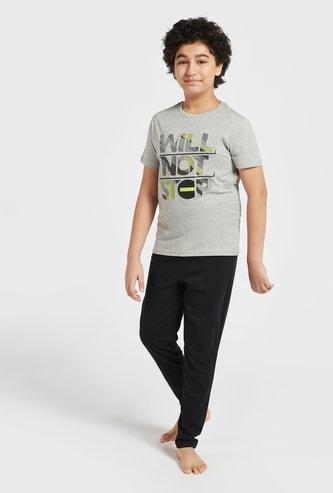 Set of 2 - Graphic Print T-shirt and Solid Pyjamas