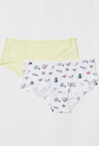 Set of 2 - Assorted Briefs with Elasticated Waistband and Bow Accent