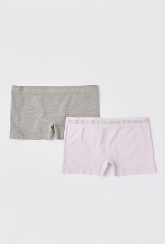 Set of 2 - Solid Briefs with Text Print Elasticated Waistband