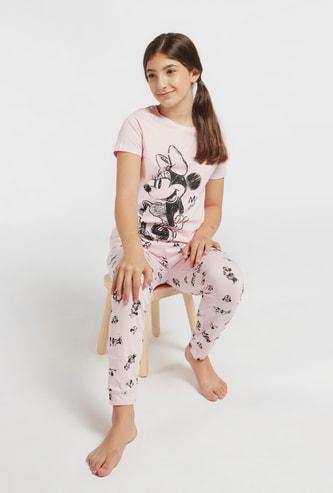 Minnie Mouse Print Short Sleeves T-shirt and Pyjama Set