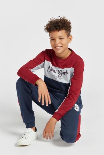 Text Print Sweatshirt and Tape Detail Jog Pants Set