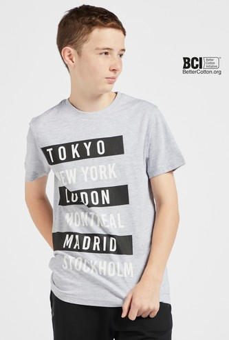 Text Print T-shirt with Crew Neck and Short Sleeves
