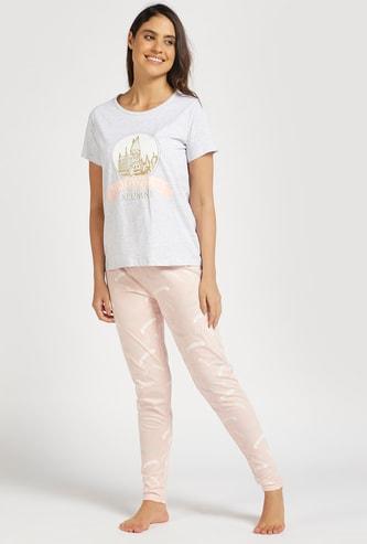 Harry Potter Print Round Neck T-shirt and Full Length Pyjama Set