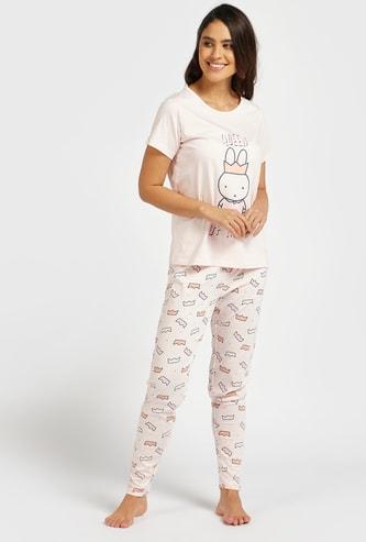 Set of 2 - Graphic Print T-shirt and Pyjamas Set