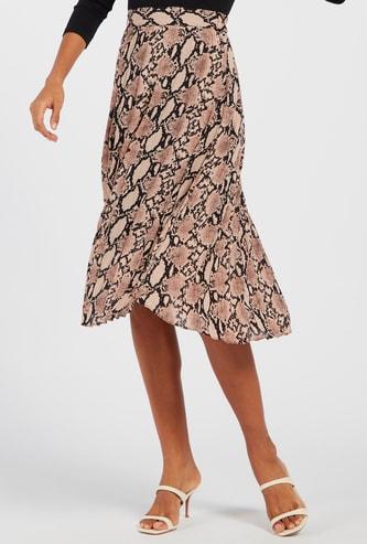 Animal Print Midi A-line Skirt with Elasticised Waistband