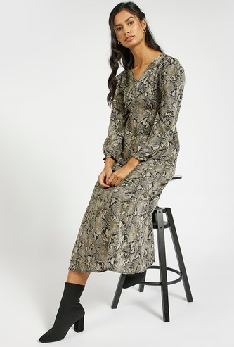 All-Over Printed Midi A-line Dress with Smocked Sleeves