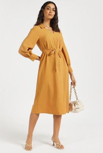 Solid A-line Midi Dress with Belt and Polo Collar