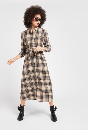 Checks Print Midi Shirt Dress with Long Sleeves