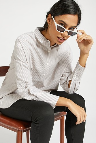 Striped Oversized Shirt with Long Sleeves and Button Closure