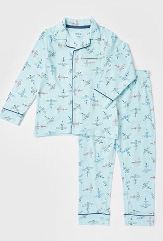 Graphic Print Shirt and Pyjama Set