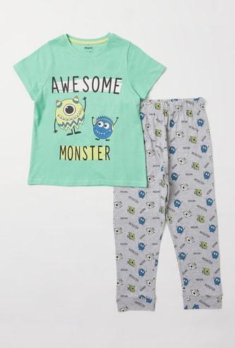 Monster Printed Round Neck T-shirt and Pyjama Set