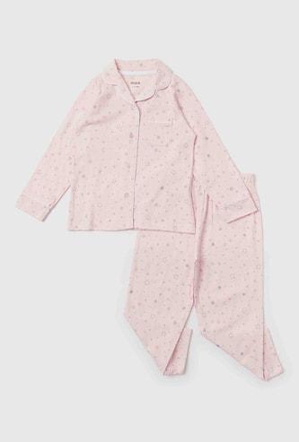 Printed Collared Shirt and Pyjama Set