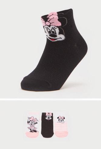 Set of 3 - Minnie Mouse Print Ankle Length Socks