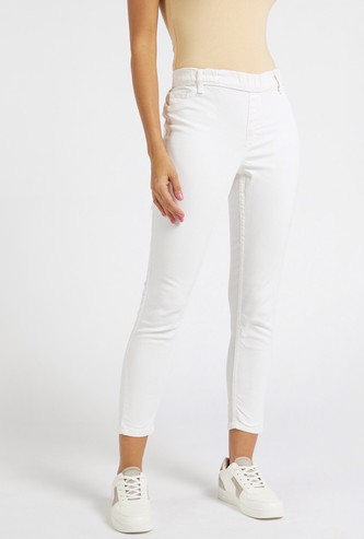 Skinny Fit Mid-Rise Jeggings with Elasticised Waistband